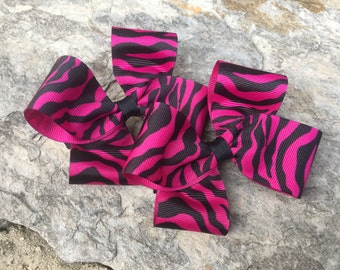 Dark Pink Zebra Striped Hair Bows,Pigtail Hair Bows,French Barrettes,Zebra Bows