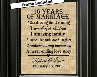 FRAMED Custom 16th anniversary 16th wedding anniversary gift 16th anniversary gift for him 16th anniversary gift for her 16th anniversary