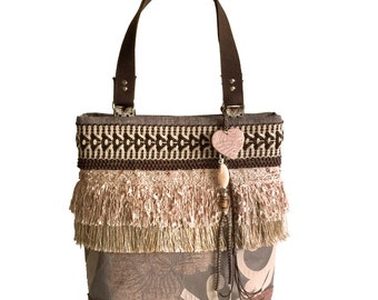 Brown tote bag fringe, brown handbag bohemian style, women gift unique, boho bag of fabric, one of a kind bags handmade