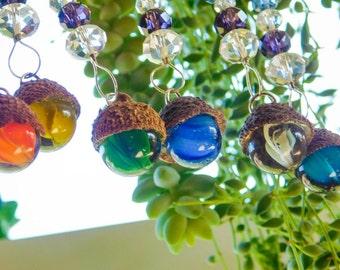 One Rainbow Vintage Marble Acorn Glass Crystal Suncatcher Ornament German Tradition Hostess Graduation Wedding Gift