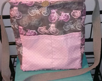 Handmade pink and gray bicycles reversible crossbody bag