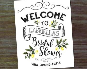 Custom Bridal Shower Welcome Sign 16x20 { Vintage Mediterranean Lemons Wedding Olives Italian Botanical Tuscan Rustic }