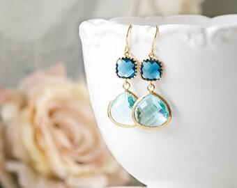 Blue Earrings in Gold Navy Blue Glass Dangle Earrings Aqua Blue Drop Earrings Something Blue Wedding Jewelry Bridal Earrings Bridesmaid Gift