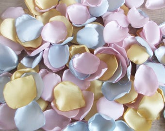 Light Gold Blush Pink and Silver Rose Petals, Silk Wedding Rose Petals, Flower Petals, Fabric Wedding Petals, Artificial Petals