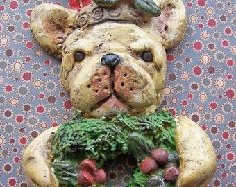 Folk Art French Bulldog Dog Christmas Santa Ornament OOak
