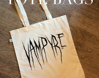 goth tote bag, vampyre bag, printed shoulder bag, shopping bag, alt clothing, graphic tote, horror bag, gothic, Nameless City Apparel