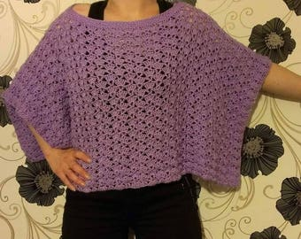 Hand knitted crochet poncho