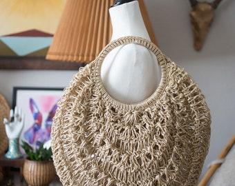 Large Hand woven plastic market bag / purse