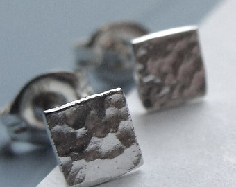 4mm Hammered Square Studs Micro-Mini Sterling Silver Post Earrings Stud Earrings