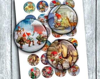 Christmas Dwarfs Printable circle Images for Scrapbooking Bottle caps, Pendants Digital Collage Sheet Instant Download