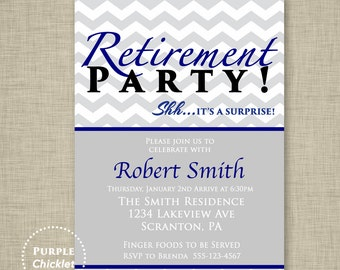 Surprise Retirement Party Invitation Farewell Party Gray Navy Blue Masculine Invitation Trendy Printable Invite 5x7 Digital JPG File 7