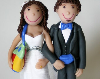 Customized Wedding Cake Topper Bride and Groom on Base