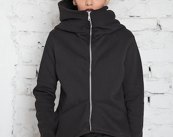 Big Hood Hoodie/ Oversize Hoodie/ Women Jacket/ Zip Up Hoodie/ Plus Size Workout/ Hoodie Sweater/ Black Sweatshirt/ Hooded Sweatshirt Jacket