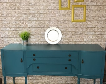 SOLD - Russian Turquoise painted sideboard with caramel details - NOW SOLD