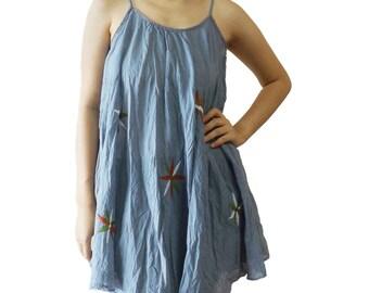 Women's Hippie Boho Spaghetti Strap Summer Tunic Top Grey