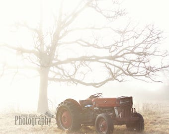 Old Vintage Tractor Wooden Print Wrap