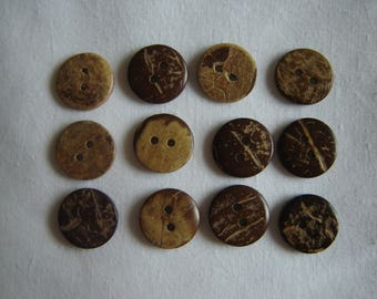 10 Brown coconut buttons / / 15 mm