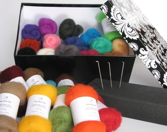 Needle Felting Kit, complete with felting needles, felting pad, needle felting wool.