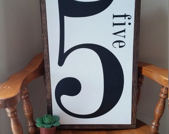 Large Number sign. 4, 5, 6, 7, 8. 13x19