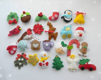 Christmas felt ornaments set 25, advent calendar ornaments, tree ornament, Christmas decor, christmas tree decor