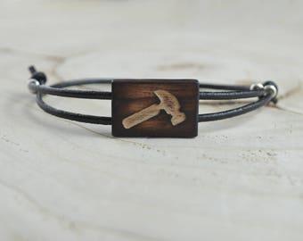 Bracelet Rectangle Bois Récupéré et Argent - Marteau