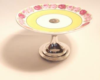Gorgeous vintage bonbon dish/fruit bowl with silver-plated base