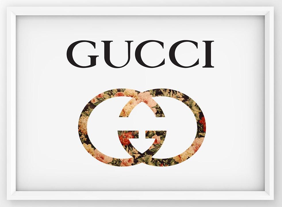 Floral Gucci Print Gucci Logo Poster Fashion Wall Decor