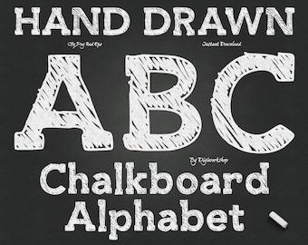 "Chalkboard Alphabet Clip Art: ""Chalk Alphabet"" digital hand drawn clipart with 72 chalk letters, font, chalkboard letters, numbers, alpha"