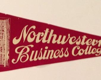 Circa 1920's Northwestern Business College Full Sized Pennant - Antique College Memorabilia