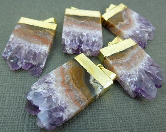 Amethyst Stalactite Slice Pendant with 24k Gold Layered Cap Necklace option BEST PRICING vertical version ASP