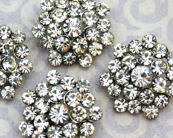 6 pieces - 25mm Metal Silver Plated CLEAR Crystal Rhinestone Buttons - wedding / hair / dress / garment accessories Flower Center