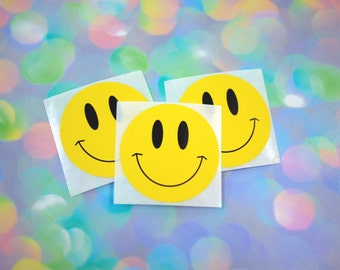 Vintage 90s Smiley Face Stickers / Cute Retro Yellow Smiley Face Stickers for Crafts, Scrapbooking, Decorating / Set of Three Stickers