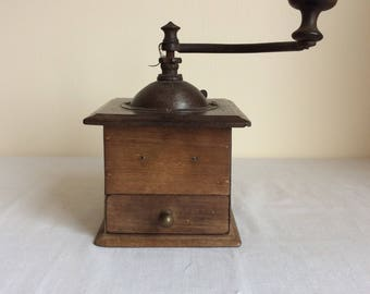 French vintage wooden coffee grinder by Peugeot Freres in working order