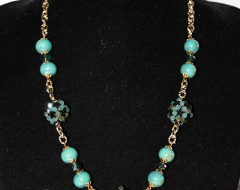 Maxi necklace with crystals and pearls with chain