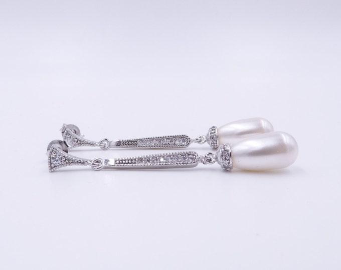 Slim drop earrings, Art Deco style, pearl drop, Swarovski, Vintage, cream, champagne, , 1920's wedding, brides, mother  bride,