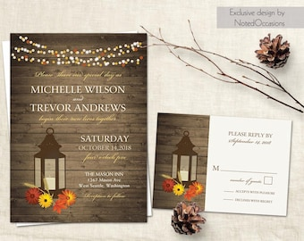 Fall Wedding Invitation Rustic Lantern Country Wedding Invitation Suite RSVP Gerbera Daisies fall leaves set DIY printable template Autumn