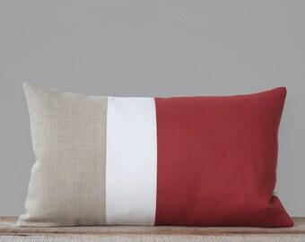 Custom MARSALA Color Block Pillow Cover Modern Home Decor by JillianReneDecor | Minimal | Linen Colorblock Pillow | 2015 Pantone