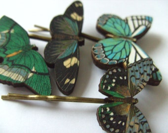 Teal, white, blue, black, wooden butterflies, hair slides, set of four, hair grip, bobby pins, by Newellsjewels on etsy