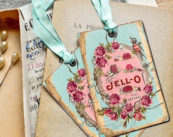 Shabby Chic Gift Tags - Jello for Dessert - French style tags - 4 pcs in pack - Eco-friendly paper