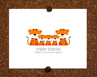 Tiger Baby Triplet Thank You Cards. Triplet Baby Shower Thank You Cards. Triplet Thank Yous. Personalized Stationery (Set of 10)