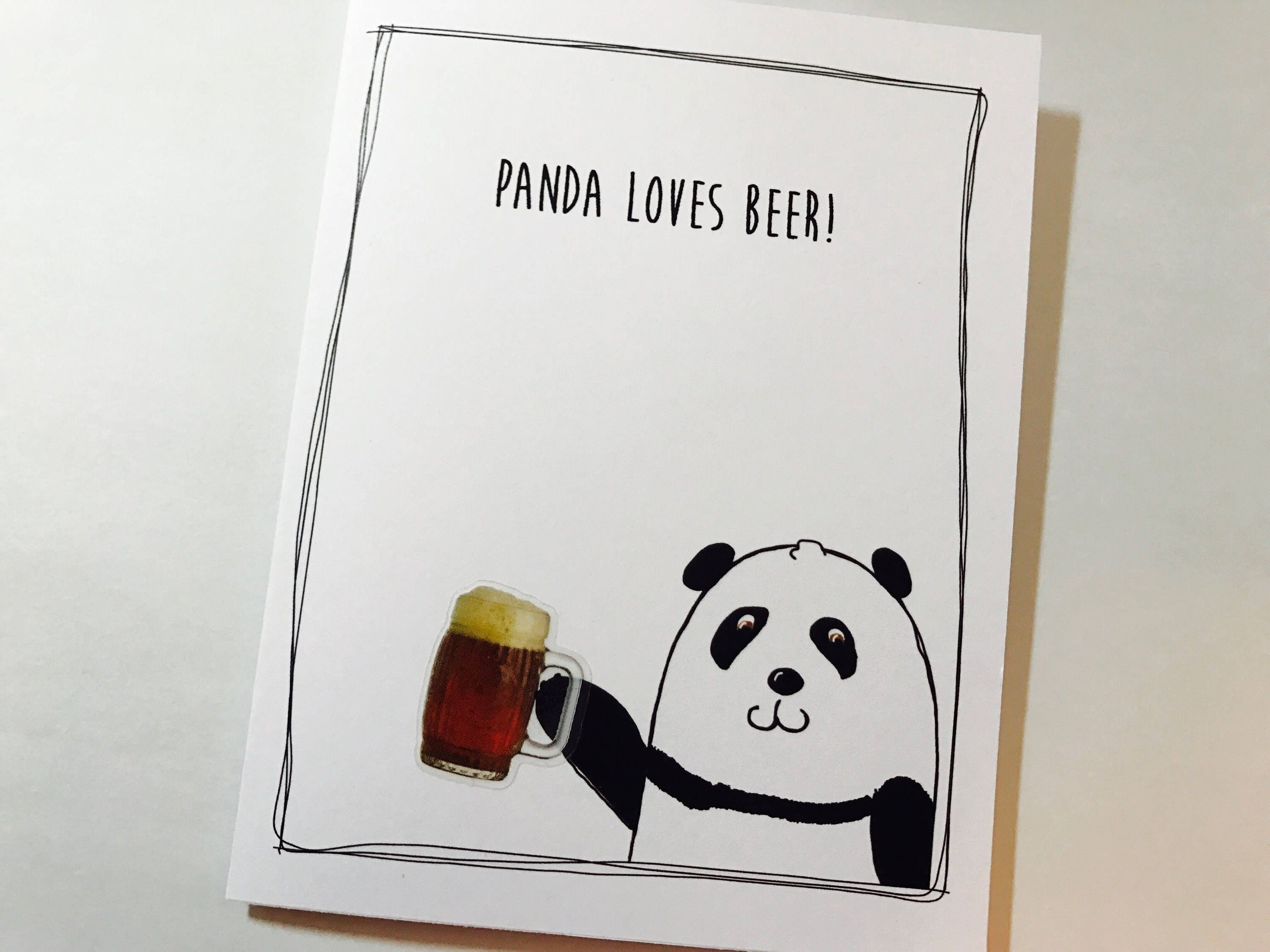 Panda birthday card beer birthday card panda loves beer you love panda birthday card beer birthday card panda loves beer you love beer inappropriate made on recycled paper comes with envelope and seal bookmarktalkfo Image collections