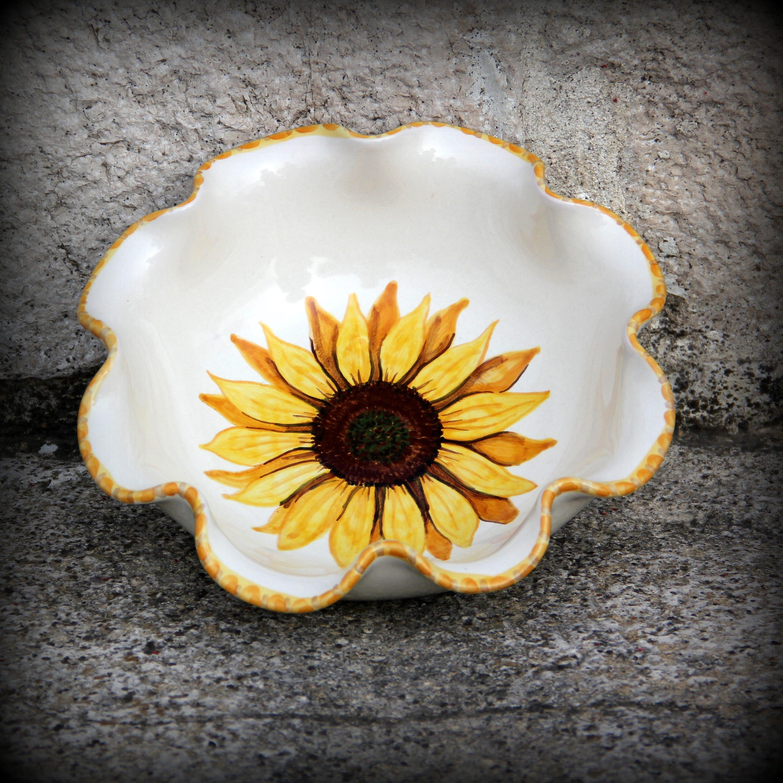 Bowl Sunflower Ceramic bowl with sunflowers Artistic ceramics ...