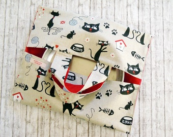Black cat food bag - Reusable Cake carrier- Fabric food tote - Picnic bag- Hot dish coverage- Casserole carrier - Caddy - Meow