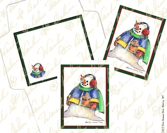 Snowman Note Card & Envelope Set 1 - Digital Stationery - Instant Download - Printable Files - JPG + PDF Formats