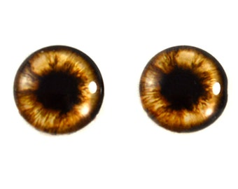16mm Brown Teddy Bear Glass Eye Cabochons - Original Handmade Artisan Eyes for Doll or Jewelry Making - Set of 2