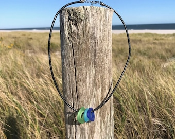 Sea Glass in Key Lime Green, Caribbean Blue, and Cobalt Blue on Black Faux Leather Necklace by Wave of Life