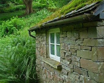 Fern Cottage 8x10 English Garden Fine Art Photography Wordsworth Rydal Mount Stone Cottage Home Decor Green Spring Inspiration