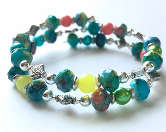 Memory Wire Bracelet, Double Wrapped, Medium Green, Turquoise Blue, Coral, Yellow, Glass Pearl Beads