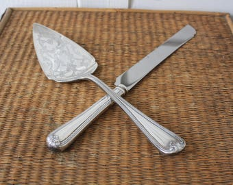 silver cake knife and server, Gorham silver cake server, made in Italy, silver cake knife, Heritage pattern
