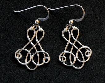 Elegant Swirl Earrings - Sterling Silver Wire Wrapped Dangle - Isabella